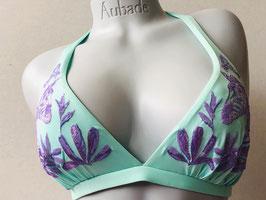 Mintgrünes Halterneck-Bikinittop mit Zebra, von Pin-up Stars