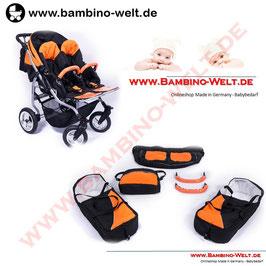 Duo Hana - Zwillingskinderwagen Kinderwagen für Zwillinge Geschwister