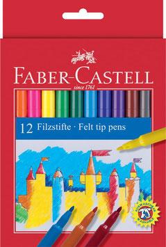 FABER-CASTELL Fasermaler, 12er Kartonetui