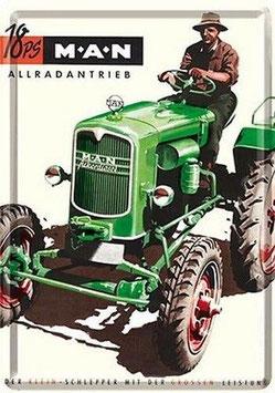 Blechpostkarte 18 PS MAN Traktor Allradantrieb