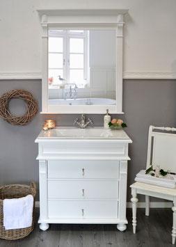 """""""Elodie"""" - Waschtischunterschrank, Keramik-Waschbecken mit Massivholz-Unterschrank, weiß"""