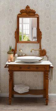 """""""Josh"""" - Antiker Spiegel-Waschtisch mit Marmorplatte"""