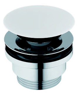 Pop-Up Keramik - Ablaufventil Ablaufgarnitur Push open, weiß für Waschbecken