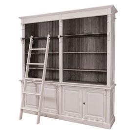 """Elegante, große Bibliothek """"Dinan"""" mit Leiter im Gründerzeitstil ,Landhaus-Möbel Massivholz weiß"""