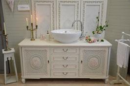 """VERKAUFT: Vintage Waschtisch """"Madeléne"""",vintage Waschkommode, vintage Badunterschrank inkl. Waschbecken"""
