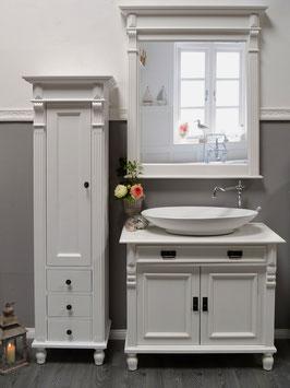 Marillé - Kleiner Hochschrank im Gründerzeit-Stil, Landhaus-Möbel Massivholz weiß
