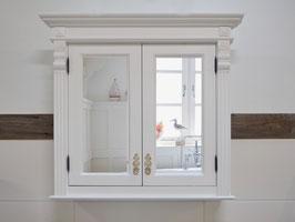 Cemont - Spiegelschrank im Jugendzeitstil, massiv, reinweiß