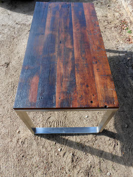 Esstisch aus ca. 120 Jahre altem Bongossi-Holz mit Edelstahlgestell