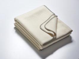 Wolldecke naturweiß 100 % Merinowolle - 155 x 200