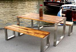 Tisch & Bank Kombination Altholz, ca. 150 Jahre alte Eiche