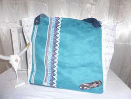 BEACH : sac plage turquoise blanc