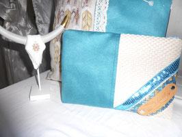 DAVIDKA : pochette turquoise / beige