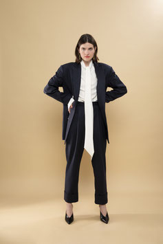 Tapered Pinstriped Trousers