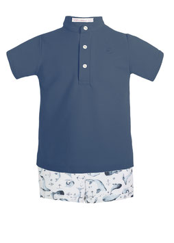 CONJUNTO NIÑO BALLENAS POLO + SHORT 4151CNO EVE CHILDREN