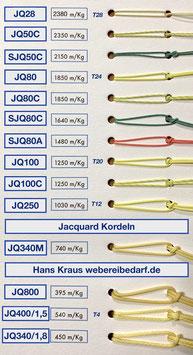 Jacquardschnur, Geleseschnur, Harnisch-Kordel geflochten, extrem reißfeste und robuste Schnur
