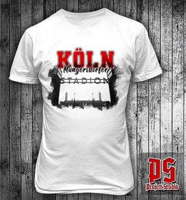 Köln Müngersdorfer Stadion Tor Shirt weiss