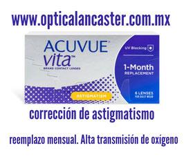 Acuvue Vita. Lente de contacto suave para astigmatismo. Paquete de 2 cajas