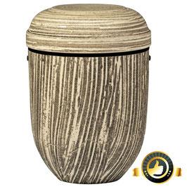 Naturstoff Urne kalksteinbeschichtet braun liniert