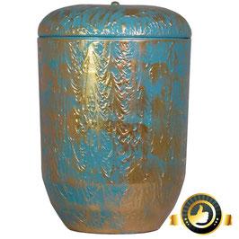 Naturstoff Urne Zweifarbig Türkis Goldfarben