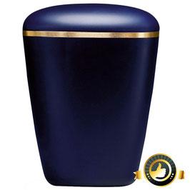 Naturstoff Urne saphierblau  dreieckig abgerundet Velour Goldrand gebürstet