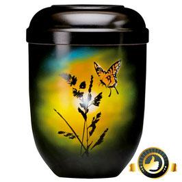 Naturstoff schwarz Airbrush - Motiv Schmetterling