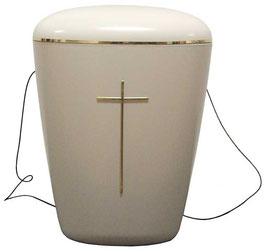 Bio Urne cremefarbig mit Kreuz