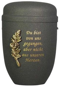 Stahl Urne Schwarz Glimmer mit Relief-Rose