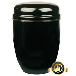 Stahl Urne schwarz mit Goldband
