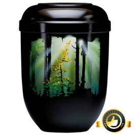 Naturstoff schwarz Airbrush - Motiv Waldlichtung