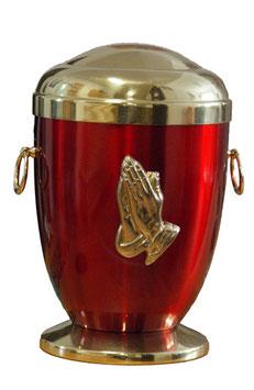Stahl Urne Bordeaux Rot Betende Hände