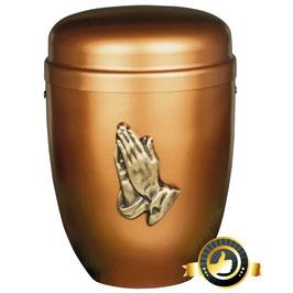 Stahl Urne Kupferfarben Alt-Kupfer Betende Hände