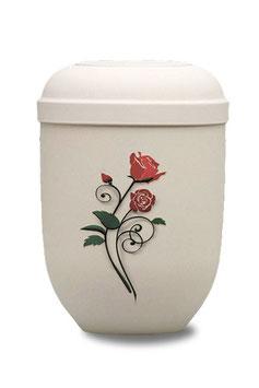 Naturstoff Bio Urne Airbrush-Motiv Rose