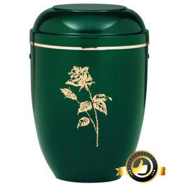 Stahl Urne moosgrün mit Rose und Goldband