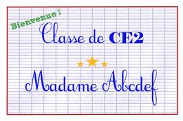 """Carte """"Classe de... """" AVEC niveau (CP, CE1...)"""