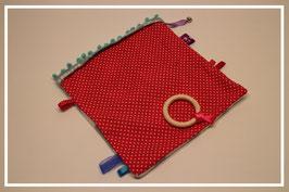 Knuffeldoekje rood met witte stippen