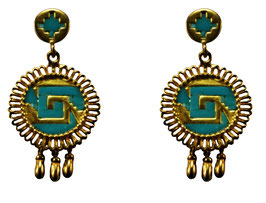 Chimalli Earrings with turquoise view