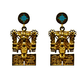 Pectoral God of the dead Earrings with Turquoise