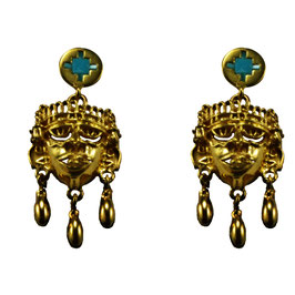 Small Xipe Totec Earrings with Turquoise