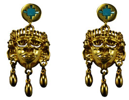 Medium  Xipe Totec Earrings with Turquoise