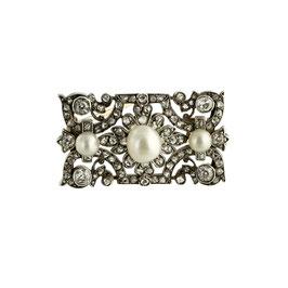 Antike Diamant Perlen Brosche, um 1900