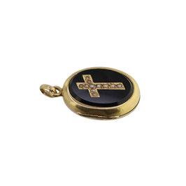 Onyx Perlen «Kreuz» Medaillon Anhänger, Viktorianisch
