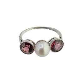 Pink Granat Perlen Ring