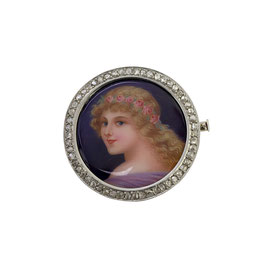 Antike Emaille Diamant Brosche,