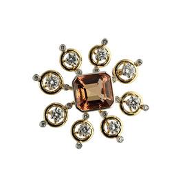 Imperial Topas Diamant Brosche, signiert Burch & Korrodi