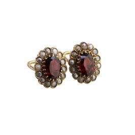 Granat Perlen Ohrclips