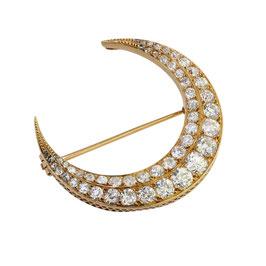 Diamant Halbmond Brosche, Viktorianisch