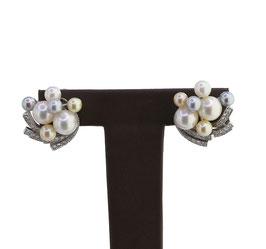 Perlen Diamant Ohrclips, signiert Paul Binder