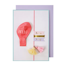 CARTE BALLON ROSE HELLO BABY