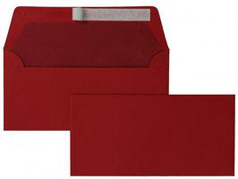 FARBIGE BRIEFUMSCHLÄGE ROT 110 x 220 mm (DIN Lang) | 100 g/qm Gerippt (Paperado) | Ohne Fenster | Haftklebung | Gerade Klappe | 100 Stück