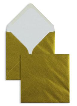 FARBIGE BRIEFUMSCHLÄGE GOLD 130 X 130 MM | 100 G/QM OFFSET | OHNE FENSTER | NASSKLEBUNG | SPITZE KLAPPE | 100 STÜCK
